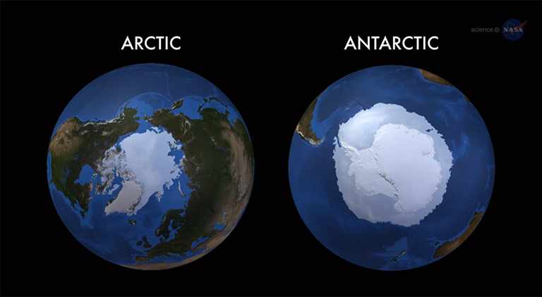 In 2014, Antarctic sea ice reached a record maximum extent while the Arctic reached a minimum extent in the top ten lowest since satellite records began. Credit: NASA's Goddard Space Flight Center
