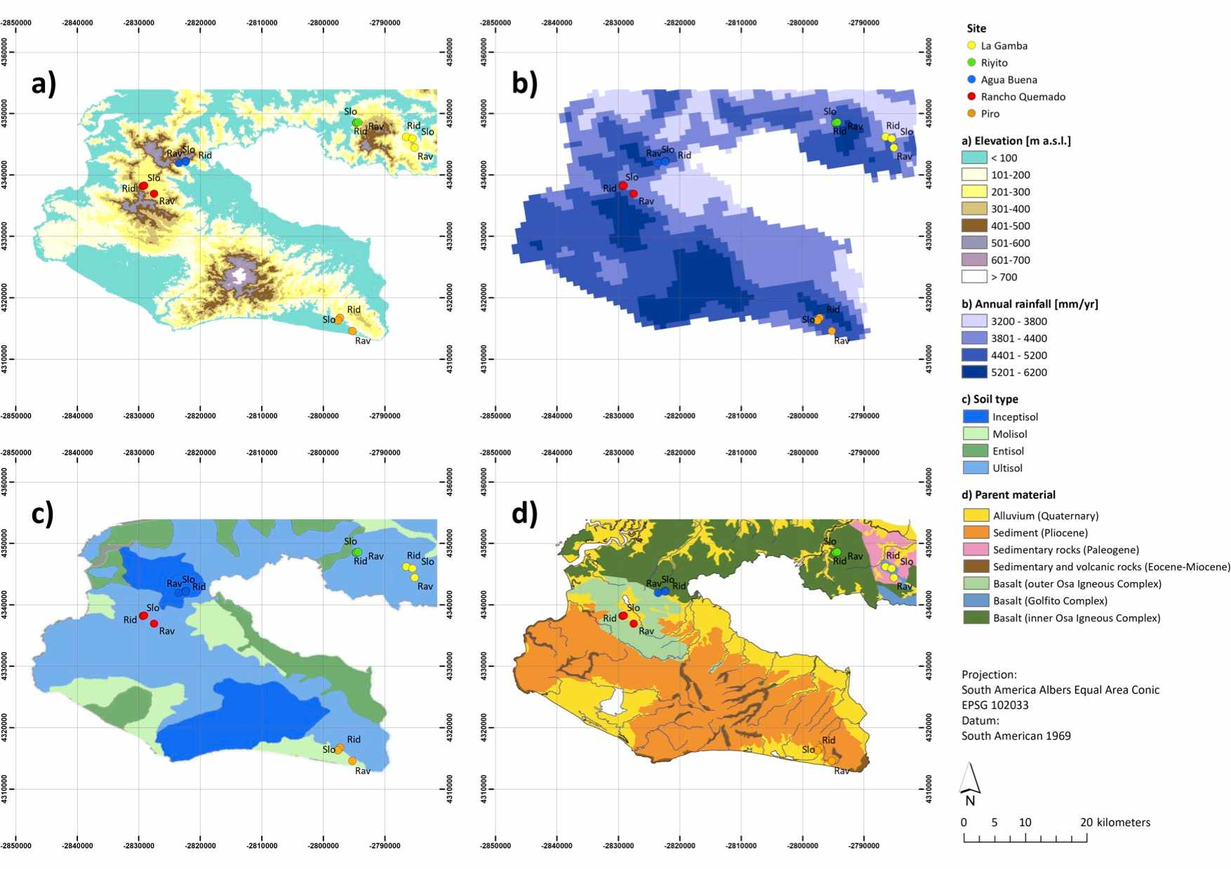 Environmental gradients and location of forest plots situated in the Área de Conservación Osa (ACOSA), southwestern Costa Rica (8°41´N, 83° 13´ W). Upper left panel (a): Elevation (m a.s.l.) based on SRTM ASTER data. Upper right panel (b): Annual rainfall (mm yr-1) based on data from Climatologies at high resolution for the earth's land surface areas. Lower left panel (c): Soil Type based on the map presented in Taylor et al. (2015). Lower right panel (d): Parent material based on an updated regional map first presented in Buchs et al. (2009). Point colors indicate respective location of forest plots spread across the study region. Geographic locations are depicted as colored symbols, i.e. La Gamba (yellow symbols), Riyito (green symbols), Agua Buena (blue symbols), Rancho Quemado (red symbols), and Piro (orange symbols). Forest habitat types are indicated by textual abbreviations, i.e. ridge forest plots (Rid), slope forest plots (Slo), and ravine forest plots (Rav) located in the Golfo Dulce region, southern Costa Rica.