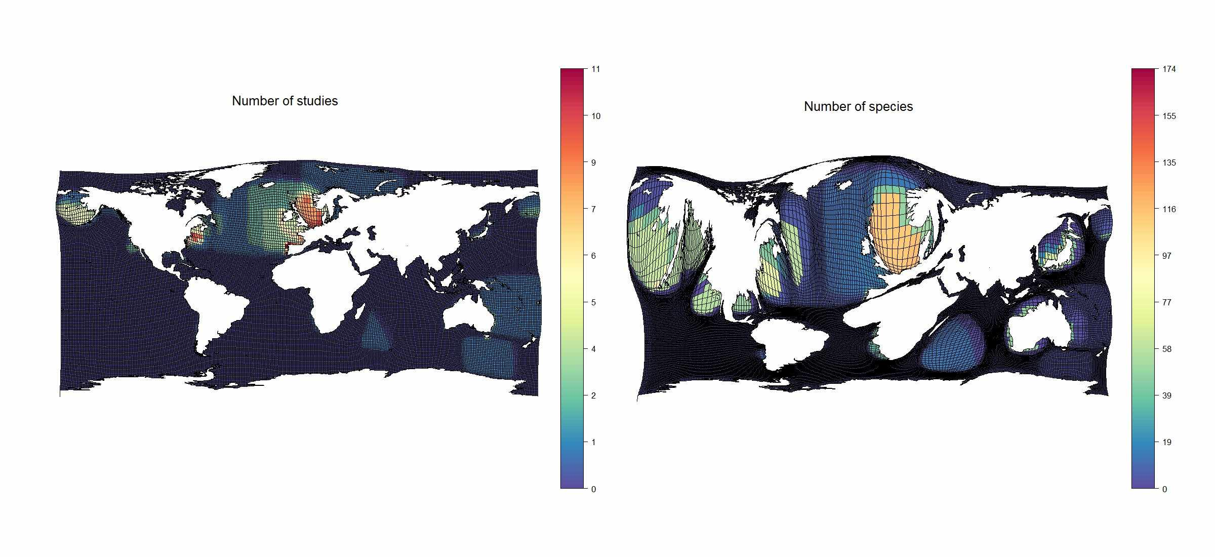 Geographical biases in the published data on species range shifts for marine systems