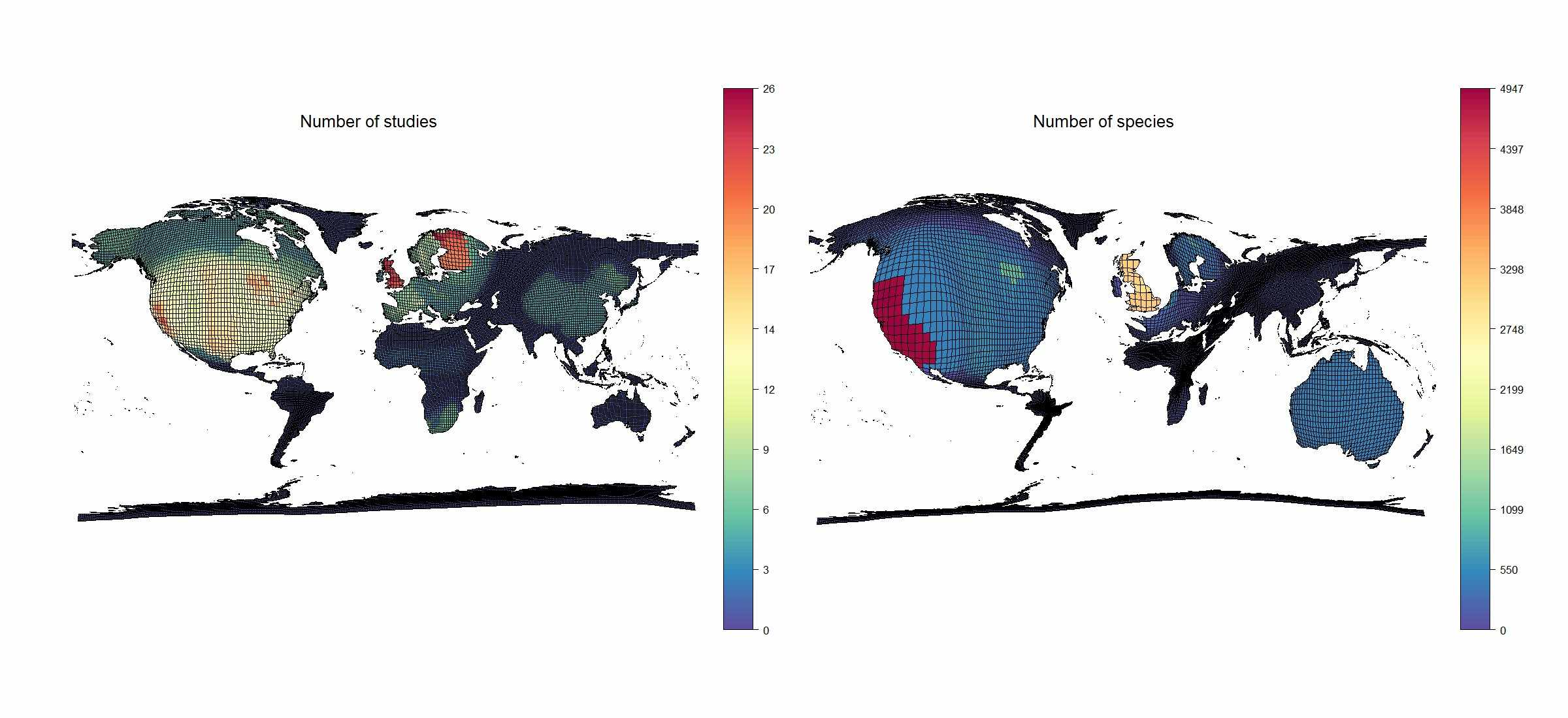 Geographical biases in the published data on species range shifts for terrestrial systems